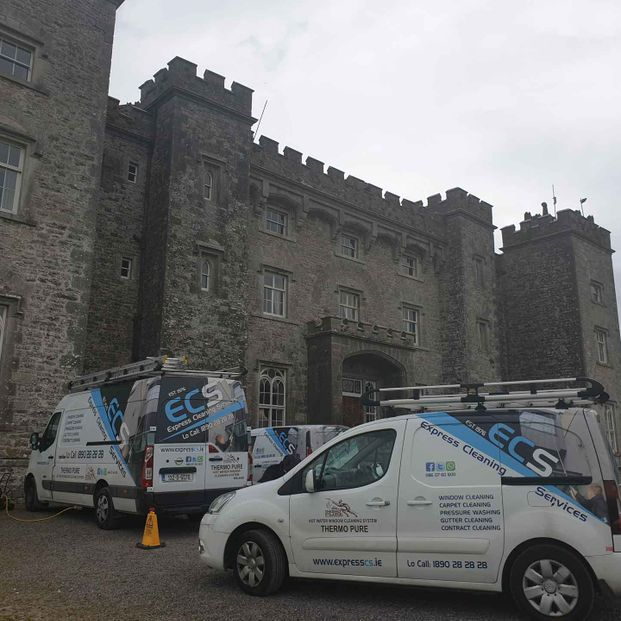 Window cleaning on Slane Castle ahead of their big concert date.